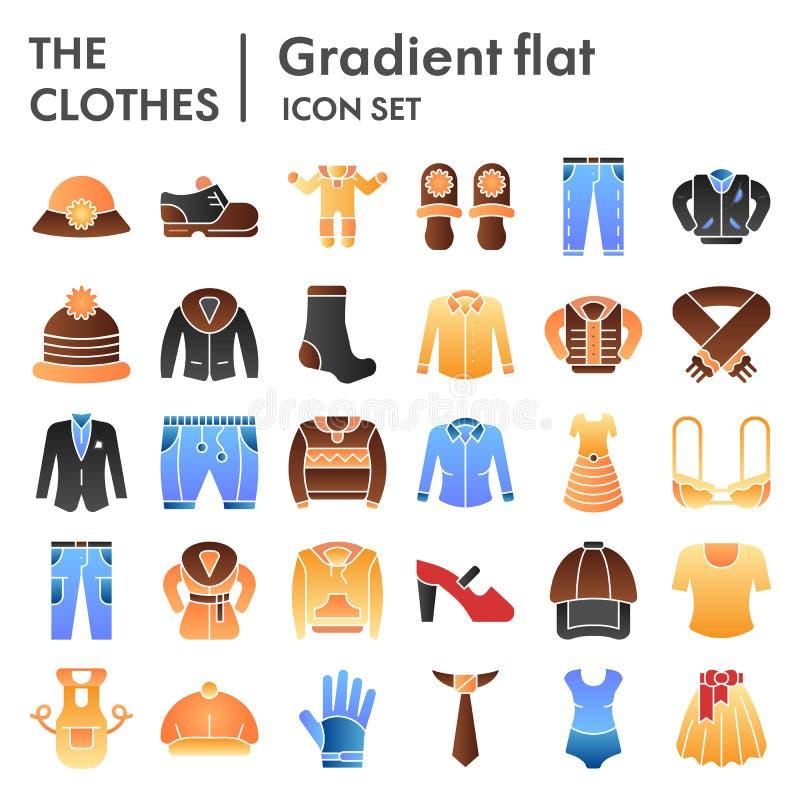 Reeks van het kleren ondertekent de vlakke pictogram, de inzameling van kledingssymbolen, vectorschetsen, embleemillustraties, kl vector illustratie