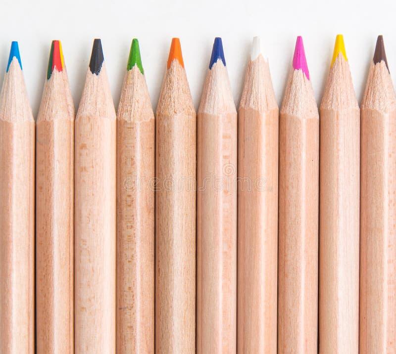 Reeks van het kleuren van potloden royalty-vrije stock foto's