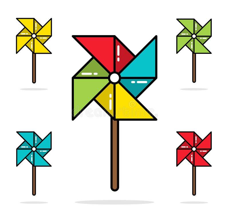 Reeks van het kleurrijke stuk speelgoed vlakke vectorontwerp van de vuurraderenlijn stock illustratie