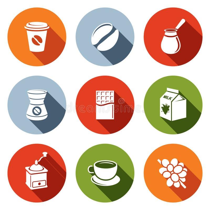 Reeks van het koffie de vlakke pictogram vector illustratie