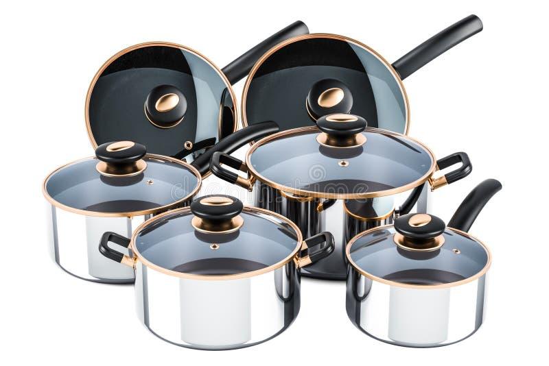 Reeks van het koken van roestvrij staalkeukengerei en cookware Po stock illustratie