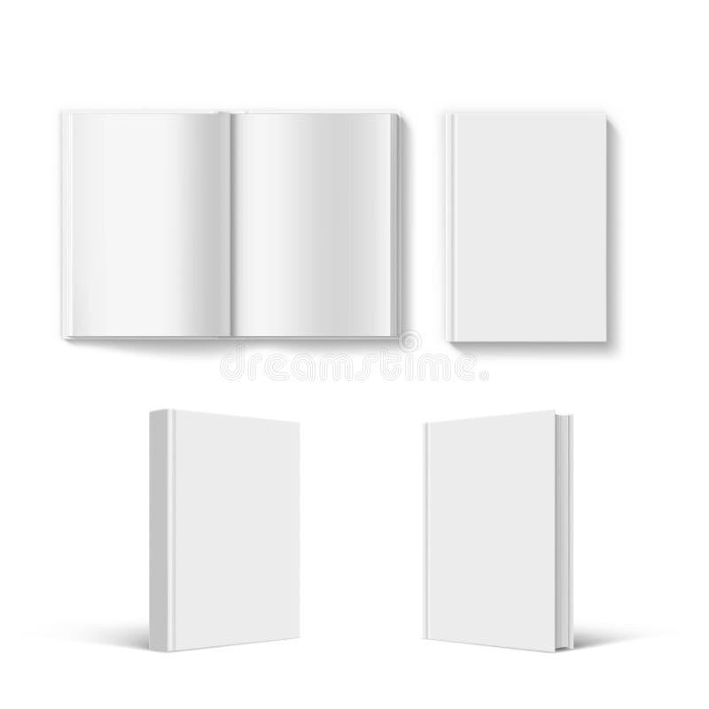 Reeks van het lege malplaatje van de boekdekking Geïsoleerdj op witte achtergrond royalty-vrije illustratie
