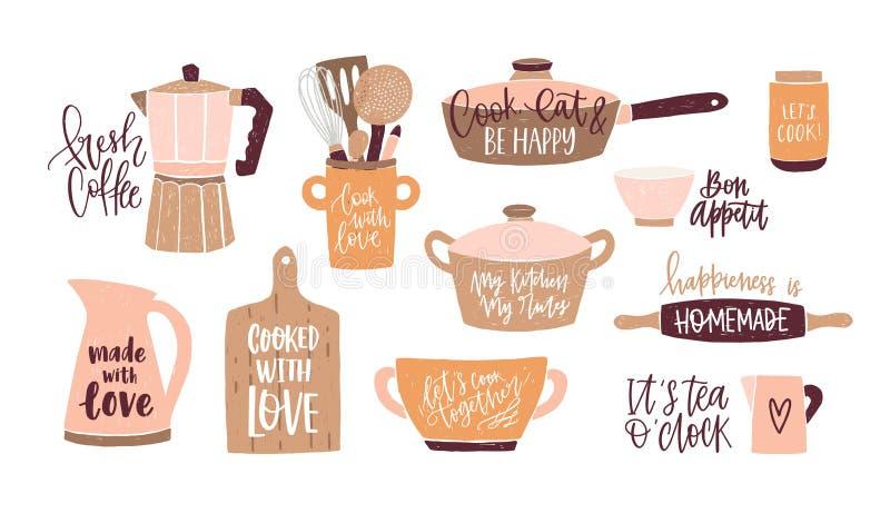 Reeks van het van letters voorzien met cursieve die doopvont wordt geschreven en met cookware, keukengerei voor huis het koken en royalty-vrije illustratie