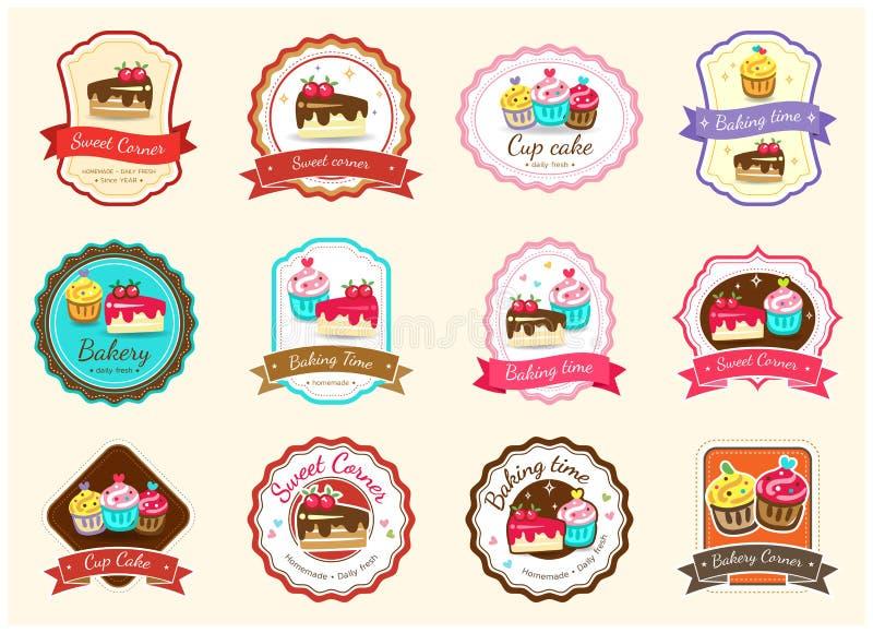 Reeks van het leuke zoete etiket en het embleem van het bakkerijkenteken vector illustratie