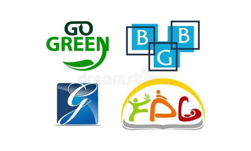 Reeks van het Logotype de Moderne Malplaatje royalty-vrije illustratie