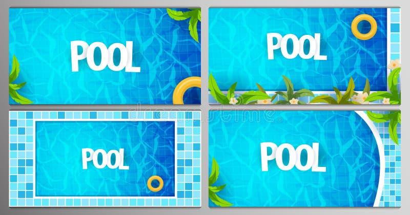 Reeks van het malplaatje van de partijaffiches van de de Zomerpool Water en palmen, opblaasbare gele matras Vector illustratie stock illustratie