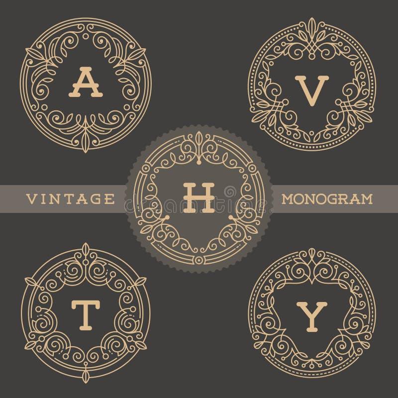 Reeks van het malplaatje van het monogramembleem royalty-vrije illustratie