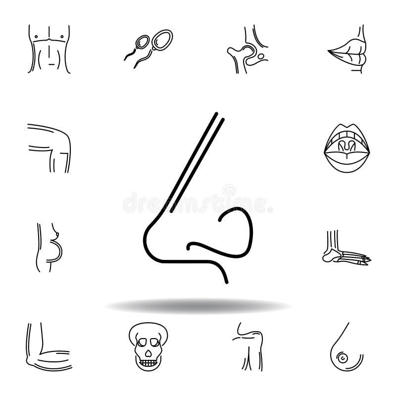 reeks van het menselijke pictogram van het het zijaanzichtoverzicht van de organenneus De tekens en de symbolen kunnen voor Web,  stock illustratie