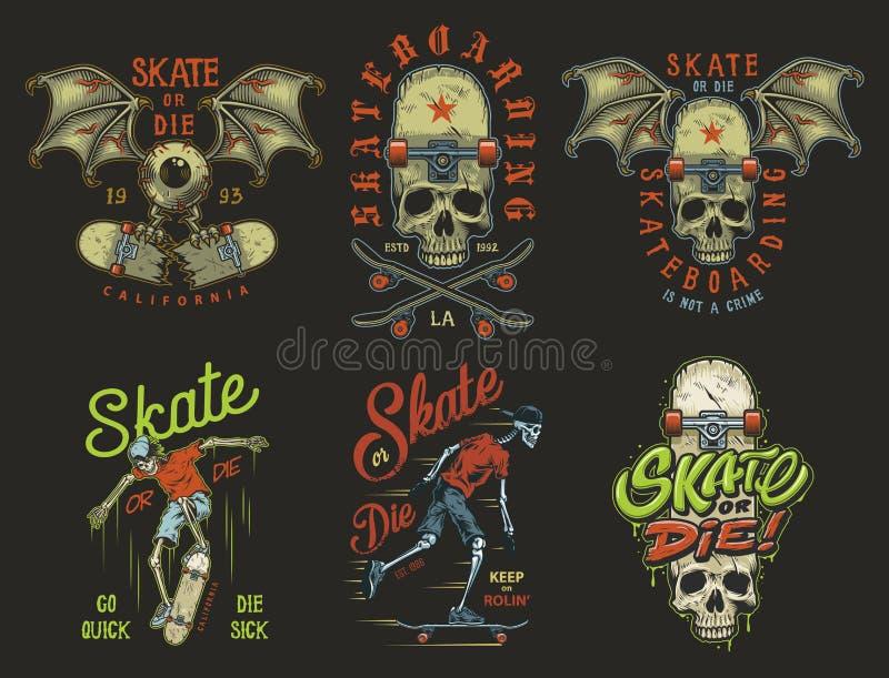 Reeks van het met een skateboard rijden van emblemen royalty-vrije illustratie