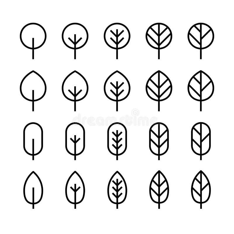 Reeks van het minimale pictogram van de bladlijn royalty-vrije illustratie