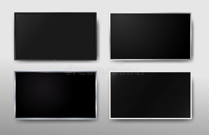 Reeks van het Moderne TV-scherm Vertonings brede TV Het digitale realistische zwarte scherm 4k, LCD of het LEIDENE van TV scherm  vector illustratie