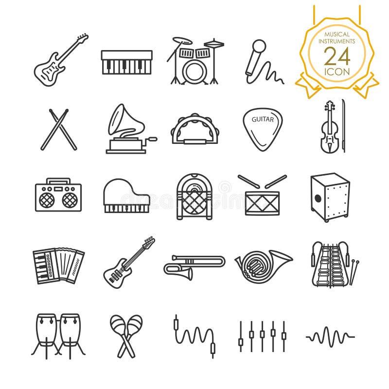 Reeks van het muzikale pictogram van de instrumentenlijn op witte achtergrond, Vector royalty-vrije illustratie