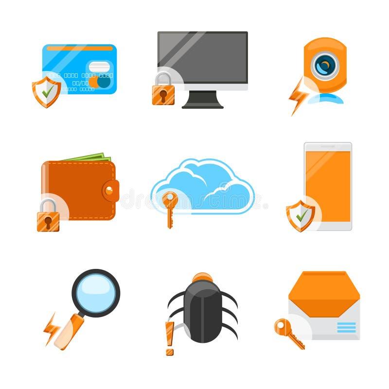 Reeks van het netwerkbeveiliging de vlakke pictogram royalty-vrije illustratie