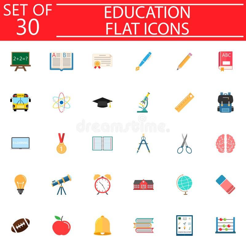 Reeks van het onderwijs de vlakke pictogram, de inzameling van het Schoolteken royalty-vrije illustratie