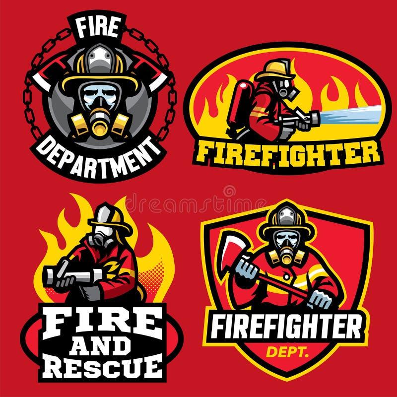 Reeks van het ontwerp van het brandbestrijderskenteken stock illustratie