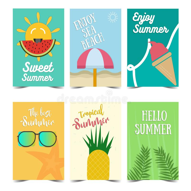 Reeks van het Ontwerp van de de Zomeraffiche Vectorillustraties voor de zomervakantie, reis en vakantie, restaurant en bar, menu, vector illustratie