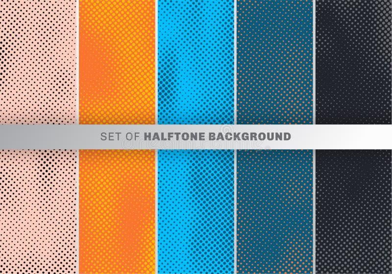 Reeks van het ontwerp van het puntenpatroon op oranje, blauwe, zwarte achtergrond Het behanginzameling van het stipontwerp royalty-vrije illustratie