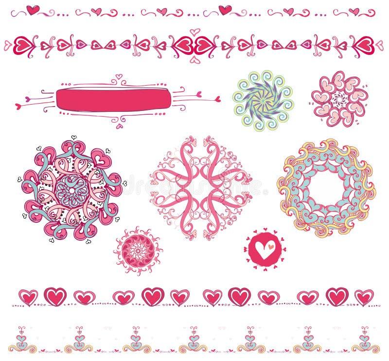 Reeks van het ontwerp van de Valentijnskaart ele vector illustratie