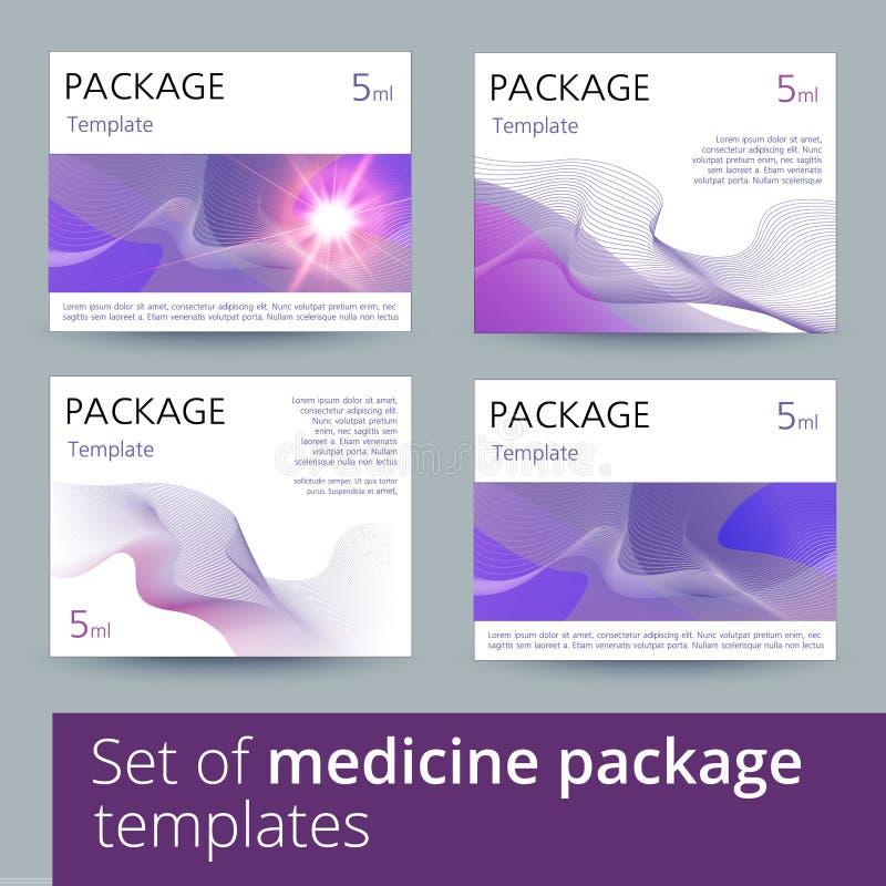 Reeks van het ontwerp van het geneeskundepakket met 3d-malplaatje stock illustratie