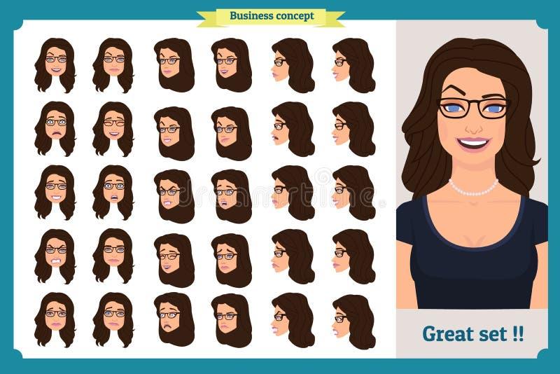 Reeks van het ontwerp van vrouwen` s emoties Grappig gezicht Meisjeszaken Voorzijde, kant, profielmening geanimeerd karakter Vect royalty-vrije illustratie