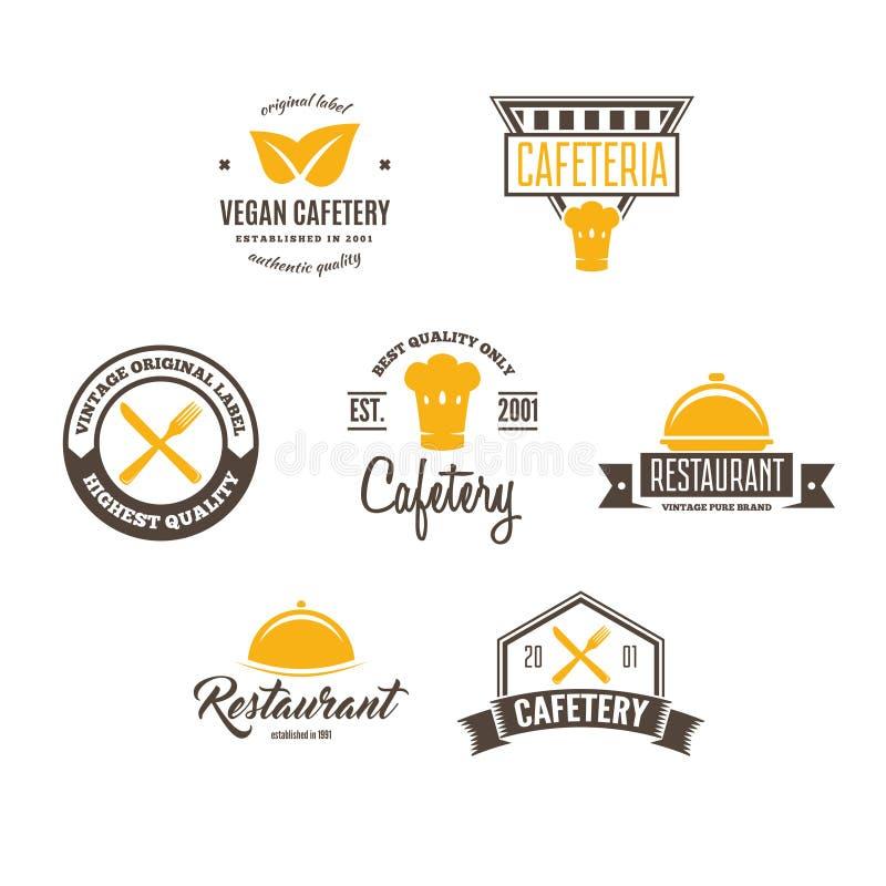 Reeks van het Ontwerpelement van de Restaurantwinkel in Uitstekende Stijl voor Logotype, Etiket, Kenteken en ander ontwerp royalty-vrije illustratie
