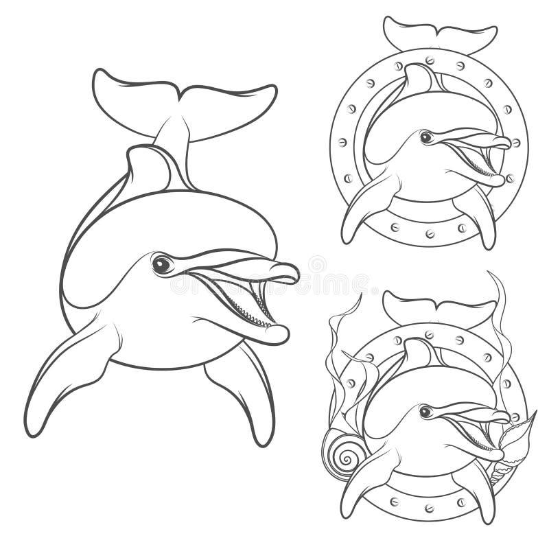 Reeks van het ontwerpelement van het dolfijnembleem royalty-vrije illustratie