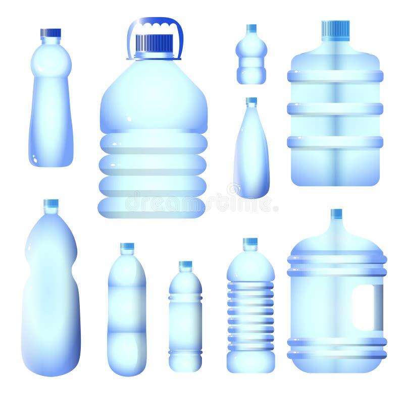 Reeks van het pak blauwe kleur van de water plastic fles die op witte achtergrond wordt geïsoleerd vector illustratie