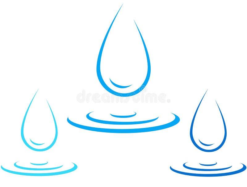 Reeks van het pictogram van de waterdaling met plons royalty-vrije illustratie