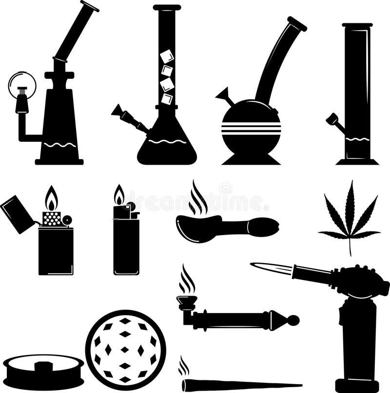 Reeks van het pictogram van het cannabismateriaal royalty-vrije illustratie