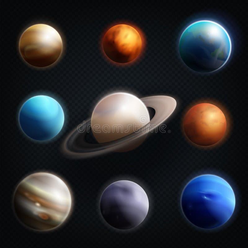 Reeks van het planeet de Realistische Pictogram vector illustratie