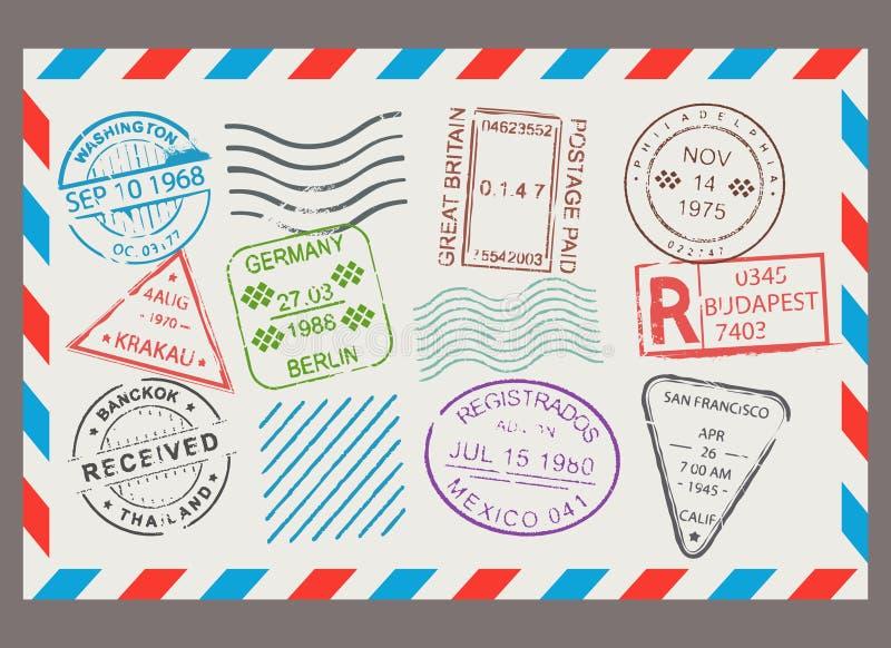 Reeks van het postzegel de vlakke beeldverhaal vector illustratie