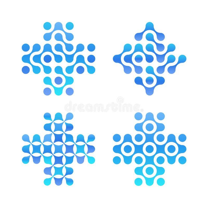 Reeks van het punten de dwarsembleem Blauwe cirkelsvormen, schoon water logotype Abstracte apotheektekens Nieuwe technologie, med royalty-vrije illustratie