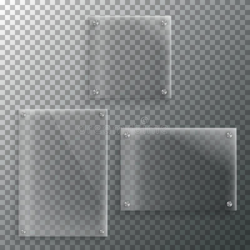 Reeks van het Realistische Vectormalplaatje van het Glaskader EPS10 vectorplast vector illustratie