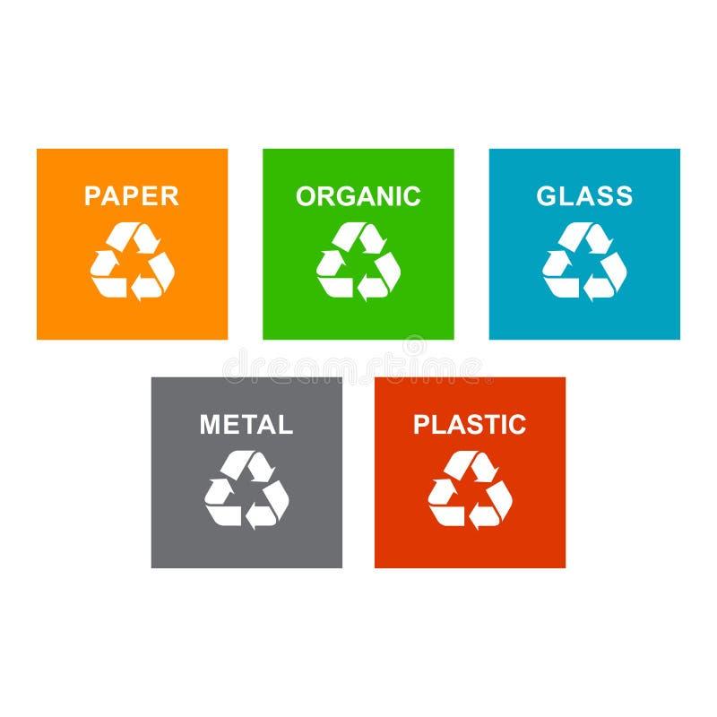 Reeks van het recycling van huisvuilsticker stock illustratie