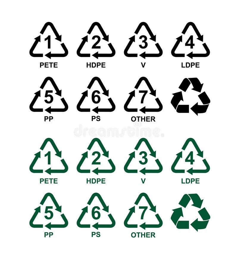 Reeks van het recycling van symbolen voor plastiek Groene en zwarte vectortekens Geïsoleerdj op witte achtergrond stock illustratie