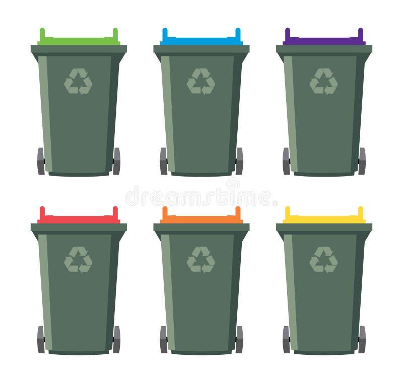 reeks van het recycling van wheelie bakpictogrammen stock illustratie