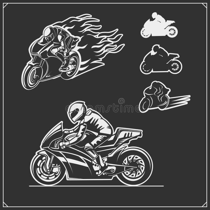 Reeks van het rennen van motorfietsemblemen, kentekens, etiketten en ontwerpelementen royalty-vrije illustratie