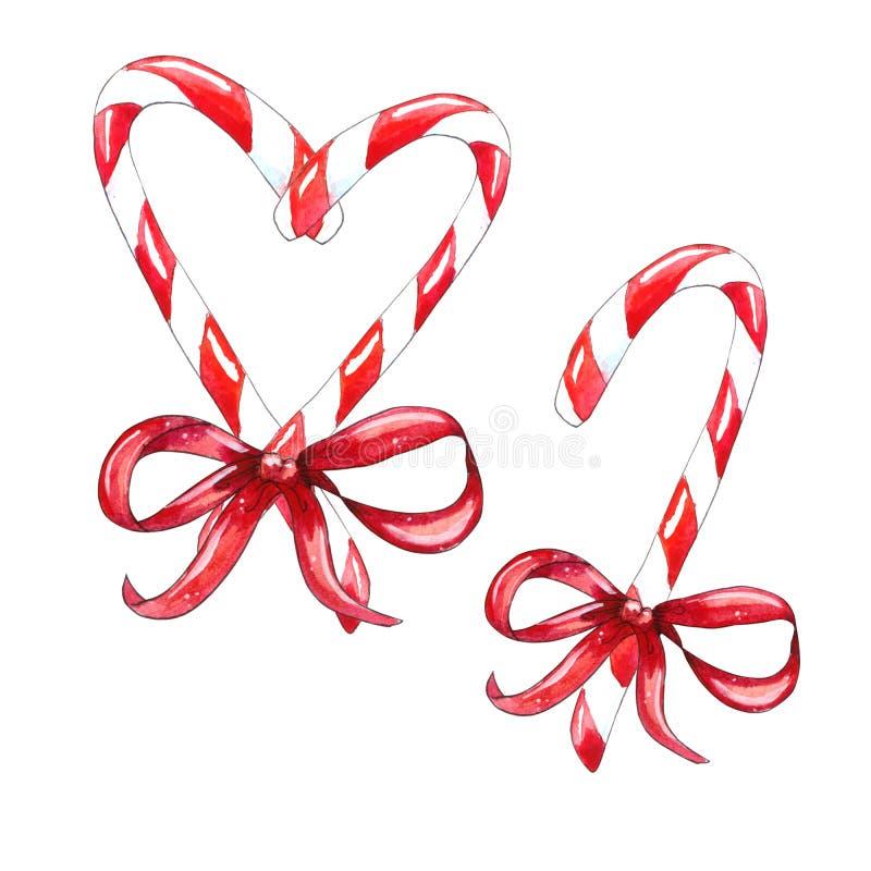 Reeks van het riet van het Kerstmissuikergoed vector illustratie