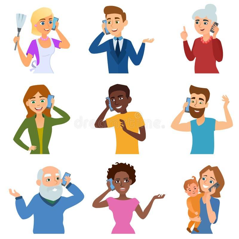 Reeks van het roepen van mobiele zaken volwassen mensen die telefoonkarakter spreken vectorillustratie royalty-vrije illustratie