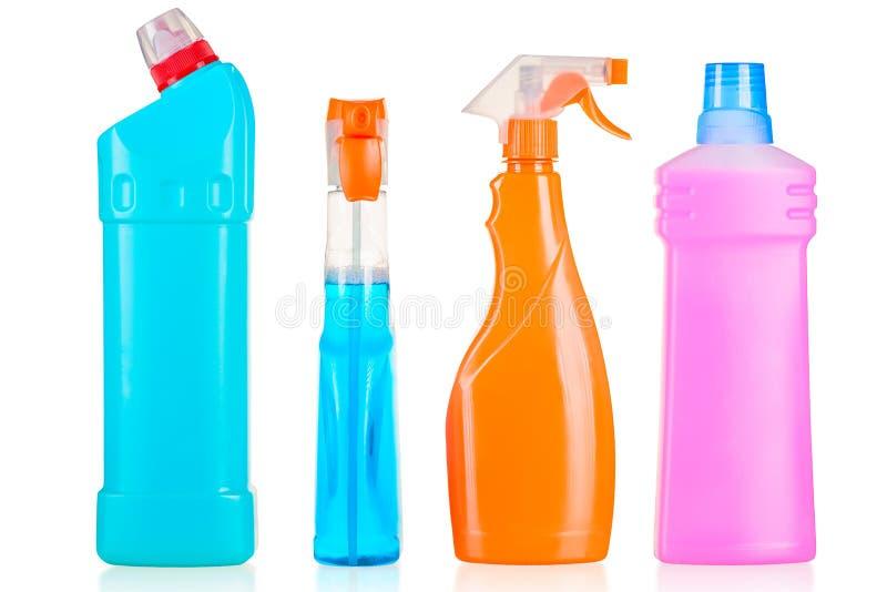 Reeks van het schoonmaken van producten voor huis geïsoleerd schoonmaken royalty-vrije stock foto's