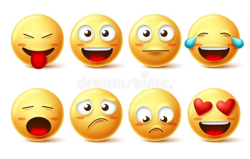 Reeks van het Smileys de vectorpictogram Emoticons en grappig lachebekje met gelukkig, droevig, inlove en ongehoorzame gelaatsuit stock illustratie