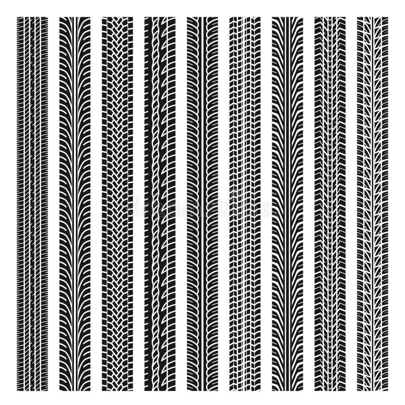 Reeks van het spoor van de vier autoband stock illustratie
