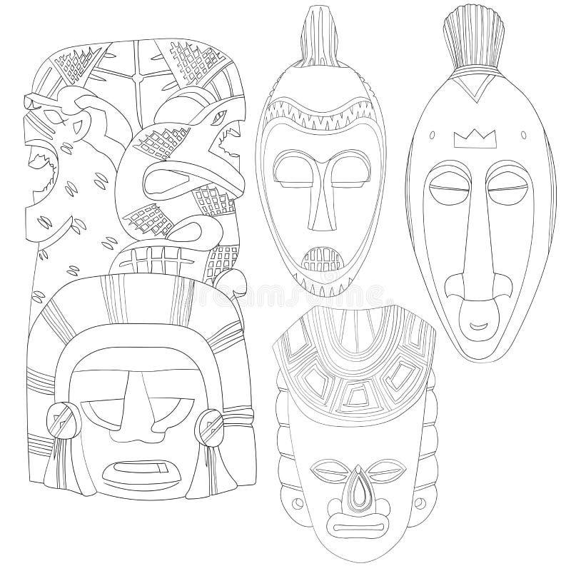 Reeks van het Stammen Plechtige Masker van Art Hand Drawn African Mayan van de Maskerslijn Geen Vulling stock afbeeldingen