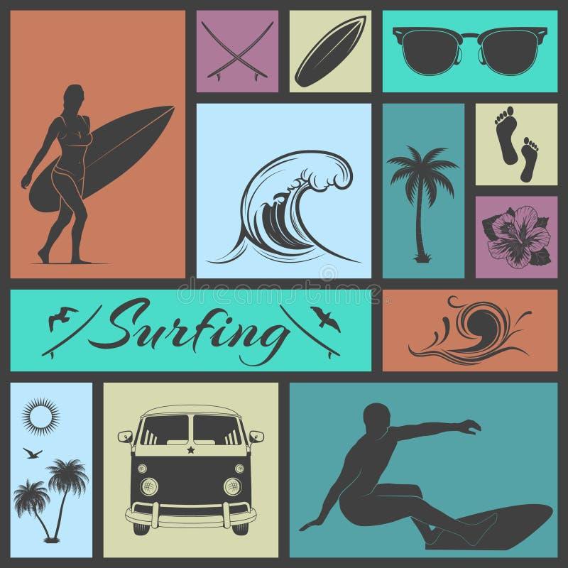 Reeks van het surfen van pictogrammen stock illustratie
