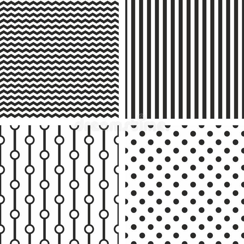Reeks van het tegel de zwart-witte vectorpatroon stock illustratie