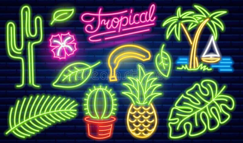 Reeks van het teken van het manierneon Cactus en ananas, tropische installaties, palmen en bladeren Nacht helder uithangbord, het stock illustratie
