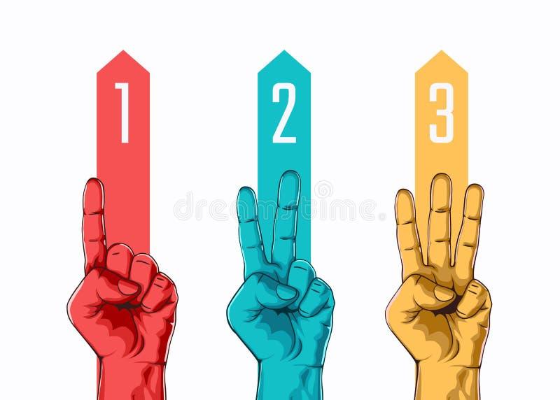Reeks van het tellen van één twee drie handteken vector illustratie