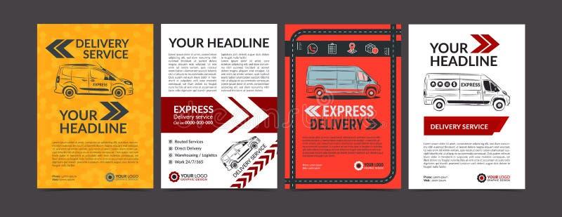 Reeks van het Uitdrukkelijke van de de brochurevlieger van de leveringsdienst malplaatje van de het ontwerplay-out De snelle vlie stock illustratie