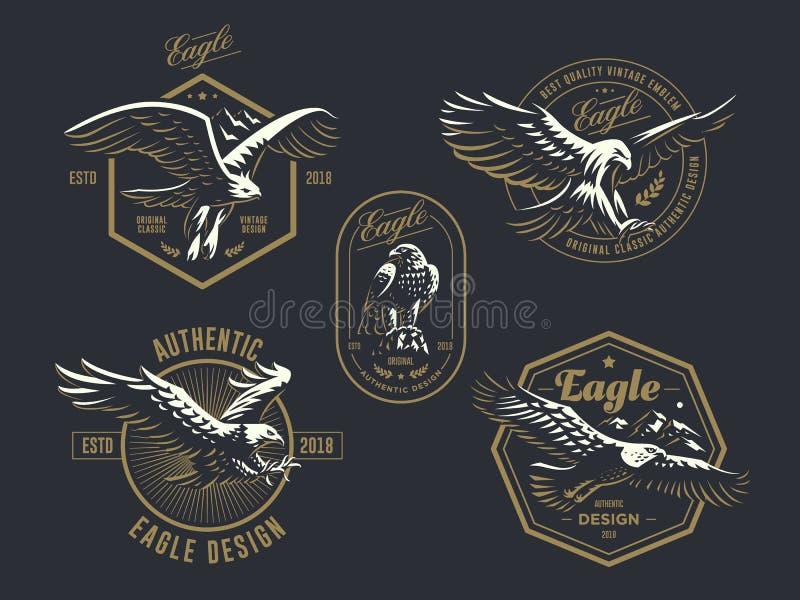 Reeks van het uitstekende embleem met de adelaar stock illustratie