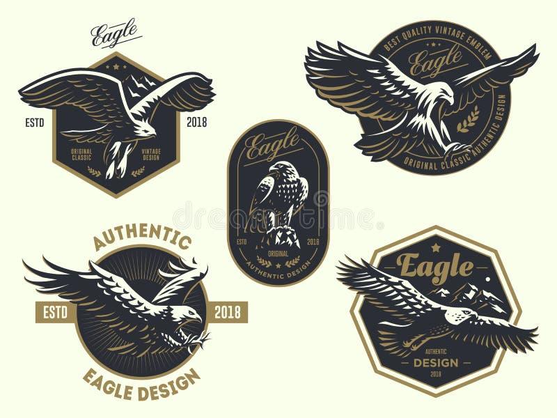 Reeks van het uitstekende embleem met de adelaar vector illustratie